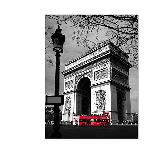 Arc Wall - Arc de Triomphe Landscape Vintage Painting on Canvas Paris France Pictures Black And White Red Bus Canvas Wall Art Modern Home Decor Art Wall Painting Unframed 24x32inch