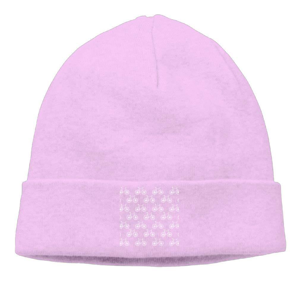 Men White Bicycle, Cycling Pattern; Neon Pink Funny Street Dance Black Beanies Cap Hat