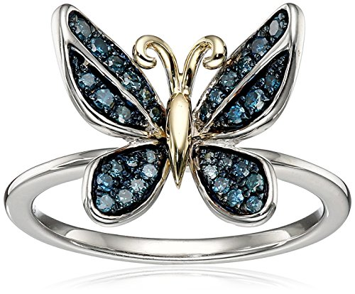 Sterling Silver and 14k Yellow Gold Diamond Butterfly Ring (1/5 cttw, I-J Color, I2-I3 Clarity), Size 7