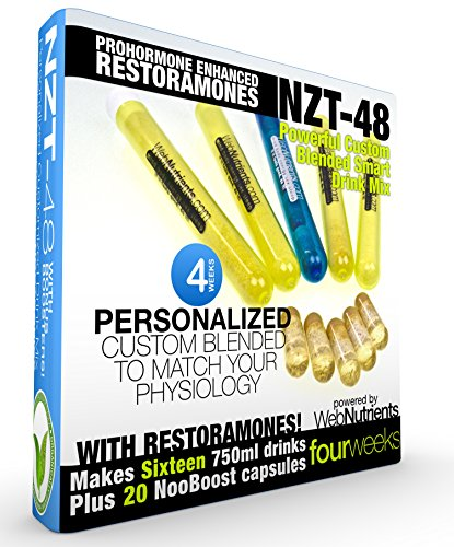 Limitless NZT-48 PLUS Restoramones - 16 Drinks+20 Capsules - Powerful, Customized and Personalized Brain-Boosting Nootropic Drink Mix, with Restoramone Prohormone Blend - and BONUS Booster Capsules. by Nootropic Stacks by WebNutrients