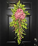 Large Hydrangea Teardrop Floral Swag Wreath for Front Door Porch Indoor Wall Decor Spring Springtime Summer Summertime Mother's Day Easter, Handmade, Multicolored, 36''L x 18'' W