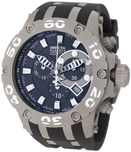 Men's  Subaqua Reserve Chronograph Black Dial Black Polyurethane Watch - Invicta 0920