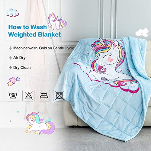BUZIO Weighted Blanket 15lbs, Unicorn Fleece Blanket 60x80 inch for Adults 140-190 lbs, Ultra Soft and Cozy Kids Blanket, Great for Calming and Sleep, Sky Blue