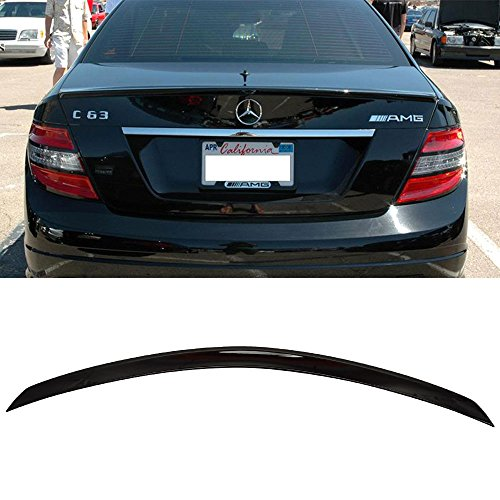 Pre-painted Trunk Spoiler Fits 2008-2014 Benz W204 C Class | AMG Style #040 Black ABS Added On Lip Wing Bodykits other color available by IKON MOTORSPORTS | 2008 2009 2010 2011 2012 2013