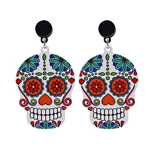 """""""Happy Halloween"""" Cute Skull Head Pattern Charm Drop Dangle Earrings Halloween Theme (Halloween Sales Motivation)"""