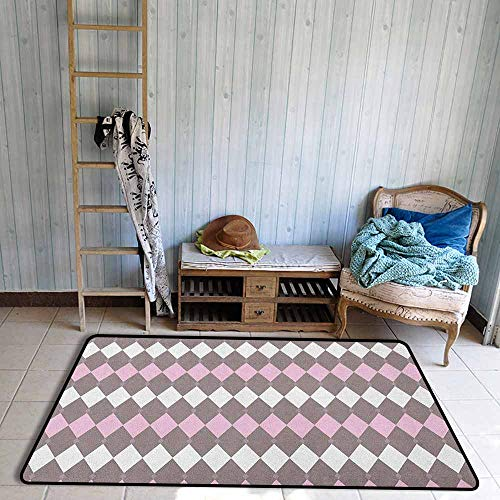 - Living Room Rug,Geometric Diamond Pattern Various Sized Shapes Vertical and Retro Illustration,Children Crawling Bedroom Rug,5'6