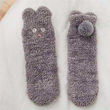 MYQNSGSZ Calcetines térmicos Engrosamiento de Invierno Felpa Tubo Medio Femenino Calcetines de Terciopelo de Coral Calcetines
