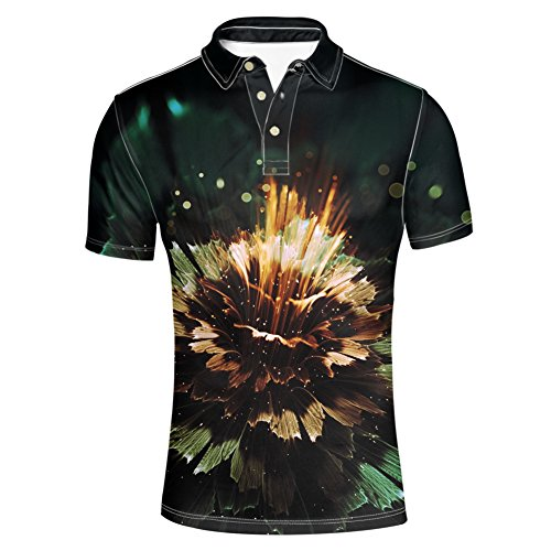Abstract Floral Jersey - HUGS IDEA Abstract Floral Men's Jersey Golf Polos Shirt Modern Casual Breathable Athletic Short Sleeve Tee
