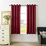 2 Panels HWY 50 Velvet Blackout Thermal Insulated Room Darkening Curtains For Bedroom Living Room , 52 x 63 inches Wine Red Grommet Window Treatments Drapes For Sale