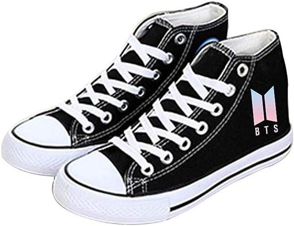 Chaussures bts BTS jeunes /à l/épreuve des balles avec les chaussures en toile Kpop BTS chaussures de sport chaussures en toile chaussures star stage chaussures mode noir Hiphop Style chaussures en toi