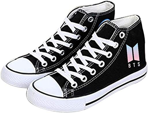 Zapatos bts BTS a prueba de balas juvenil con los zapatos de lona Kpop BTS zapatos deportivos zapatos de lona star stage zapatos negro moda Hiphop