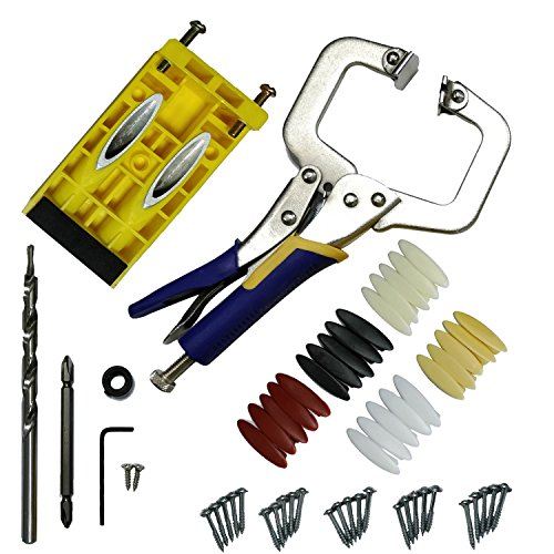 Pocket Hole Jig Kit System, Drill Bit Set with Face Clamp, Pocket Hole Screws and Plugs, for Woodworking Home Carpentry Projects, by Areally (System Hole Pocket)