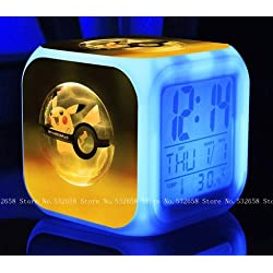 POKEMON PIKACHU Cartoon Games Action Figure 7 Colors Change Digital Alarm LED Clock Cartoon Night Colorful Toys for Kids (Style 5)