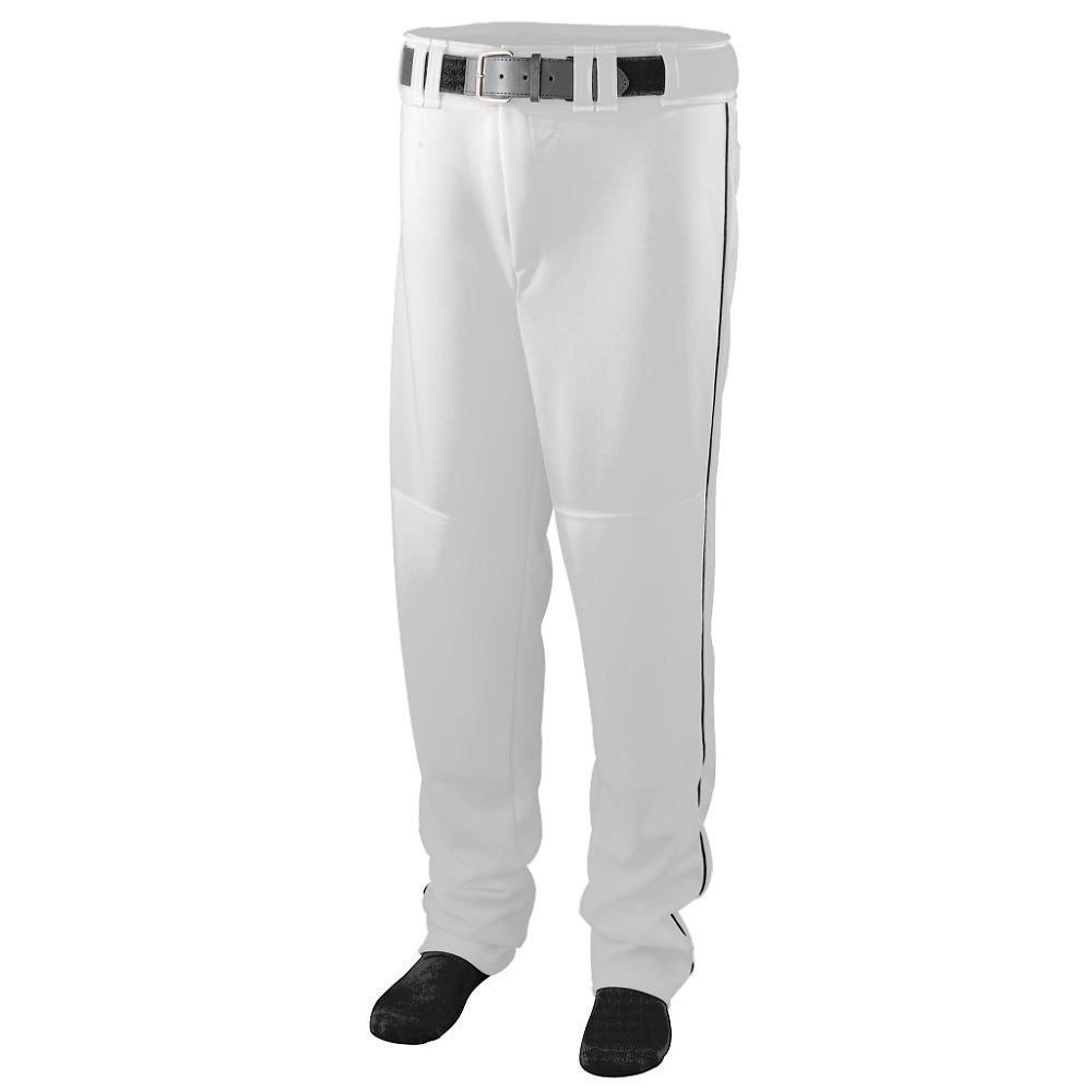 Augusta Sportswear MEN'S SERIES BASEBALL PANT WITH PIPING - White/Black 1445A XL