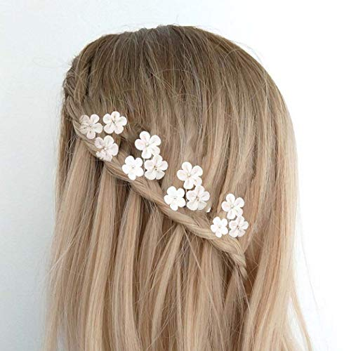 Brishow Wedding Hair Pins White Flower Beaded Bridal Hair Pieces Hair Accessories for Women and Girls(Set of 4)
