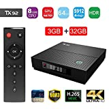 Greatlizard 3G+32G TX92 Smart TV Box Andriod 7.1 Wifi Amlogic S912 Octa core H.265 4K HD