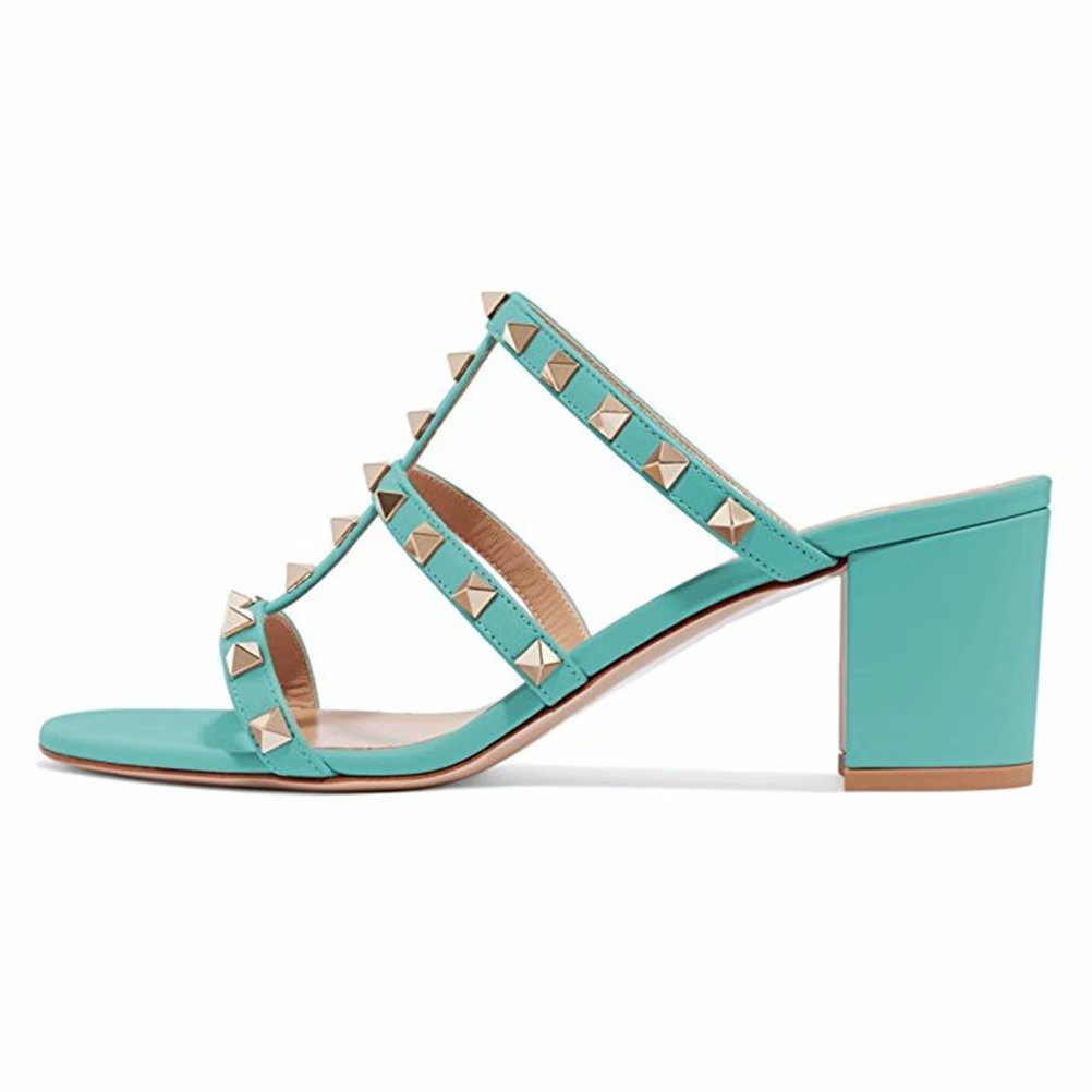 Chris-T Chunky Heels for Womens Studded Slipper Low Block Heel Sandals Open Toe Slide Studs Dress Pumps Sandals 5-14 US B07DH7Q7LJ 5 M US|Aquamarine 5cm