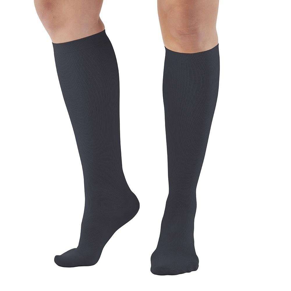 Ames Walker AW Style 136 Women's Microfiber 20-30mmHg Firm Compression Knee Compression Socks Black Medium-Relieves tierd aching swollen legs often symptoms of varicose veins-aids blood circulation