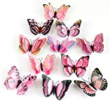 3D Butterfly Wall Sticker,Fridge Magnet Decor Decal Applique,Pack of 12 (Pink)
