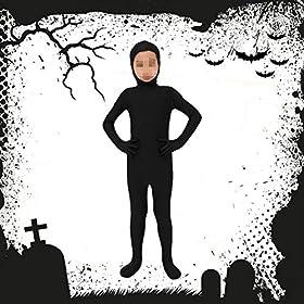 - 51NjKsiLPAL - BESTOYARD Black Full Body Halloween Costume Open Face Zentai Suit for Kids Size L