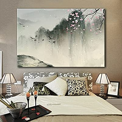 Marvelous Expert Craftsmanship, Chinese Ink Painting of Mountain Landscape in Spring with Birds and Cherry Blossom, Made to Last