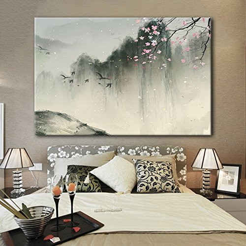 Chinese Ink Painting of Mountain Landscape in Spring with Birds and Cherry Blossom