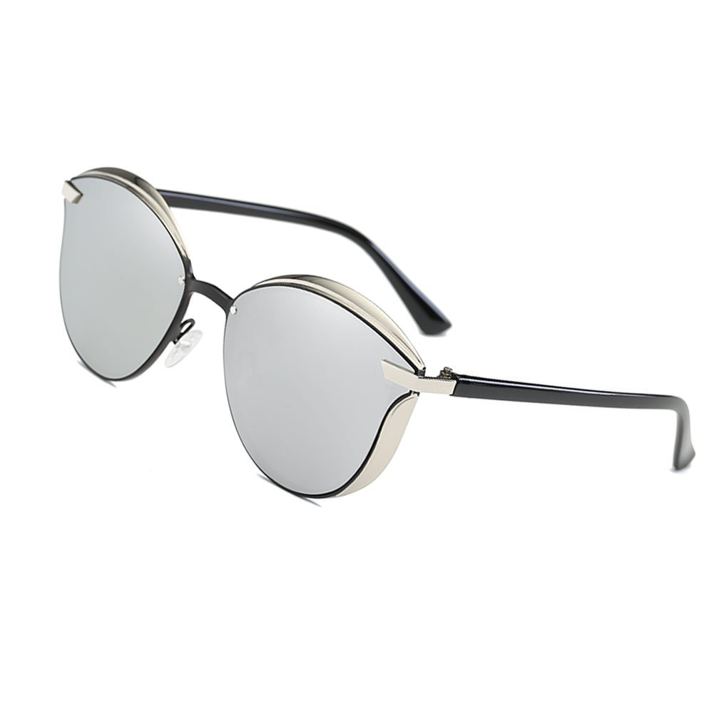 Silver lens Fashion Polarized Sunglasses for Women Cat Eye Style Mirrored UV400 Predection