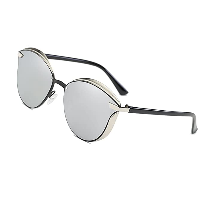 070e045fe0 Fashion Polarized Sunglasses for Women Cat Eye Style Mirrored UV400  Protection (silver)