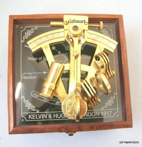 ANTIQUE NAUTICAL MARINE STYLE SEXTANT-DECORATIVE BRASS SEXTANT WITH WOODEN BOX by AAYAT NAUTICAL