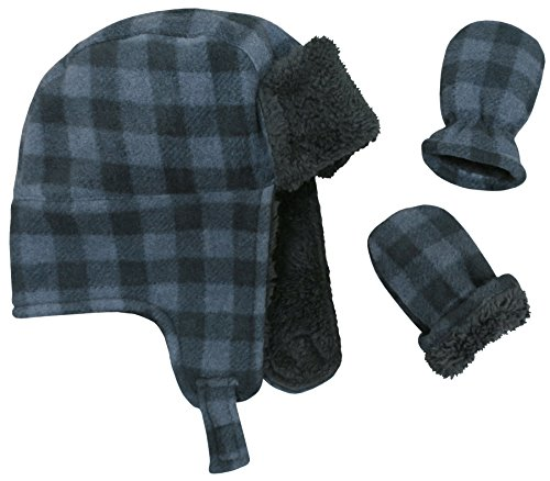 N'Ice Caps Little Boys Baby Buffalo Plaid Fleece Trooper Hat Mitten Set (6-18 Months, Charcoal Grey Infant)