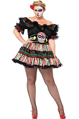 Leg Avenue Women's Plus-Size 2 Piece Day Of The Dead Doll Costume, Black/Multi-Colored, 3X/4X ()