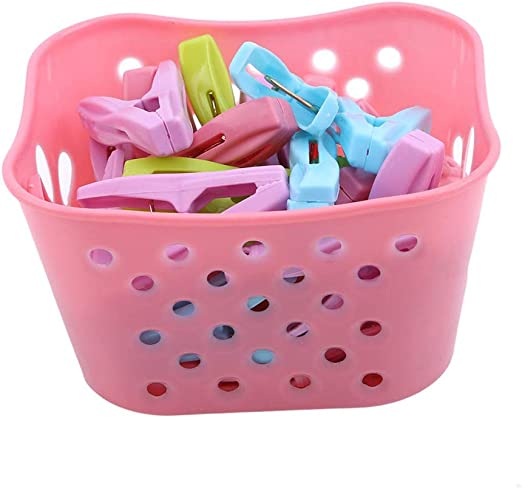 FABSELLER Pinzas de plástico para Colgar Ropa, con Cesta de Almacenamiento, 30 Unidades, Resistentes al Viento, Color Rosa: Amazon.es: Hogar