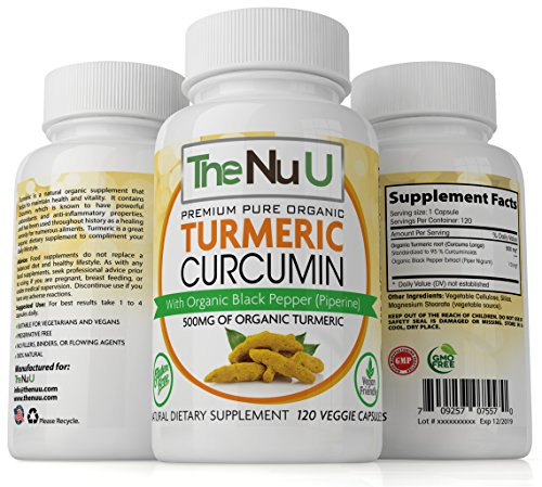 [NEW] 120 Pure Organic Turmeric Curcumin and Black Pepper 500mg of High Strength Capsules - (VEGAN / VEGETARIAN FRIENDLY) Premium Pain Relief and Joint Support with Curcuminoids