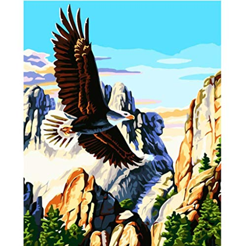 Hcffch DIY Painting Digital Hand-Painted Color Figure Beautiful Art Eagle Frameless Oil Painting Living Room Bedroom Decoration Painting 40X50Cm