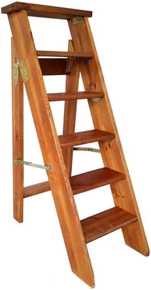 LIYFF-Step Ladders Taburete de Cocina Plegable de Madera de 6 peldaños Escalera Taburete portátil Home Library Attic Escalera/Soporte de Flor/Estante/Taburete – Carga 150 kg, Color Nogal Claro: Amazon.es: Juguetes y juegos