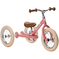 Trybike Steel Pink 2 in 1 Convertible Balance Bike and Tricycle for 18 Months to 6 Years Boys and Girls, Pneumatic Tyres