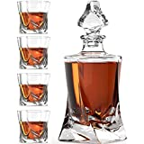 Whiskey Glass Set with Glass Whiskey Decanter - Set of 4 Old Fashioned Glasses with Bonus Granite Whiskey Stones - Great for Scotch and Bourbon - Whiskey Glasses - Perfect Holiday Gift (Twisted)
