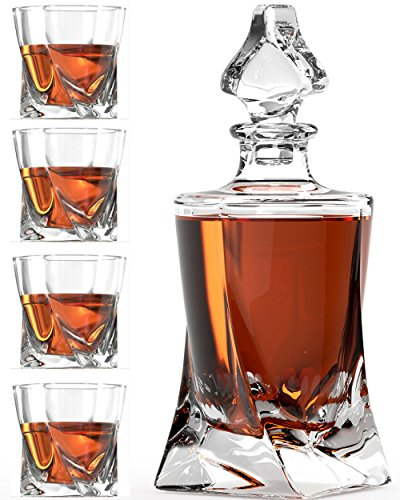 Whiskey Glass Set with Glass Whiskey Decanter - Set of 4 Old Fashioned Glasses with Bonus Granite Whiskey Stones - Great for Scotch and Bourbon - Whiskey Glasses - Perfect ()