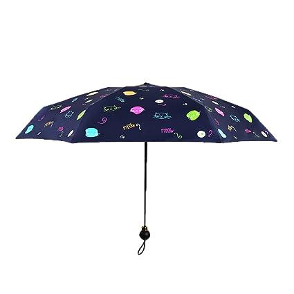 AFCITY Mujer Hombre Paraguas Viaje Paraguas de Sol al Aire Libre Patrón de Cabeza de Gato