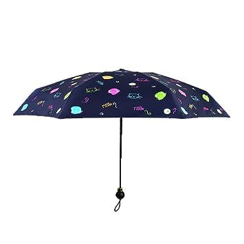 Aihifly Paraguas de Sol al Aire Libre Patrón de Cabeza de Gato Pequeño Paraguas Plegable Paraguas de protección UV a Prueba de Agua Negro: Amazon.es: Hogar