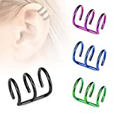PACK of 4 Ear cuffs for non-pierced ears, Fake piercing Triple Ring Titanium IP Over 316L Surgical Steel
