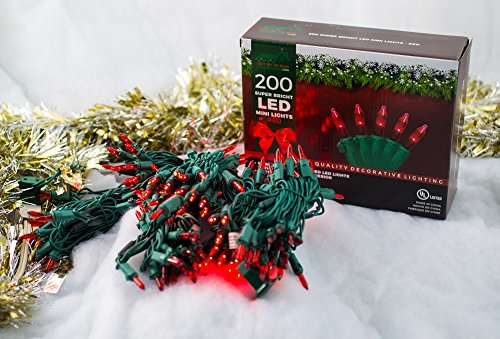 Stay Off The Roof Super Bright LED Home Wedding Christmas Garden Party Decorative String Lights Set - Red - 200-Piece - 54 ft Lighted Length, Connect up to 15 Sets - Indoor/Outdoor Seasonal Mini Pack