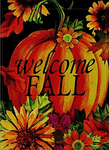 Dyrenson Home Decorative Happy Fall Yall Garden Flag Welcome Quote Double Sided, Autumn Sunflowers House Yard Flag, Rustic Harvest Pumpkin Yard Decorations, Sunflower Seasonal Outdoor Flag 12 x 18