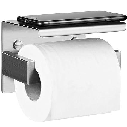 Portarrollo para Papel Higiénico, Aikzik® Acero Inoxidable Toallero Colgador Adhesivo Autoadhesivo, para Baño Cocina