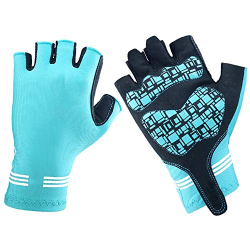 Riding Half Finger Sports Outdoor Male Motorcycle Riding Fitness Female Bicycle Gloves Equipment (Color : Blue, Size : L)