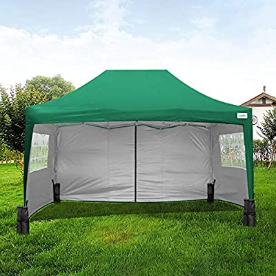Quictent Silvox 10 x 15 EZ Pop up Canopy Tent Party Tent with 4 Sides and Roller Bag Waterproof (Green) : Garden & Outdoor
