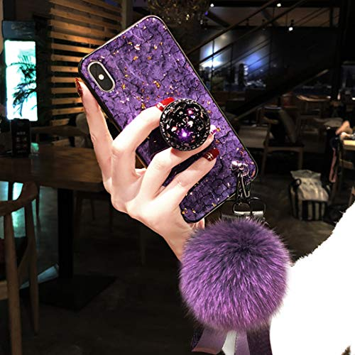 Tianyuanxuan iPhone 7 Case,iPhone 8 Case,Fashion Blu-ray Leopard Diamond Holder Cover with Rabbit Fur Hairball Phone Case for iPhone 7/8 4.7-inch