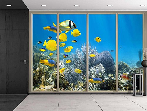 Yellow Fish Swimming Over the Coral Reefs Viewed From Sliding Door Creative Wall Mural Peel and Stick Wallpaper