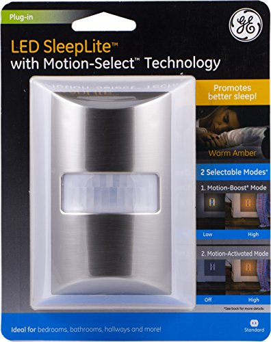 - GE LED SleepLite, Plug-in Amber Night Light with Selectable Boost or Motion-Activated, Promote Natural Sleep Cycles, Brushed Nickel Finish, 40449