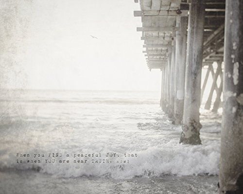 Motivational Rumi Quote Home Decor Art Print, Pier with Ocean Waves Coastal Beach Picture by Inspired Art Prints